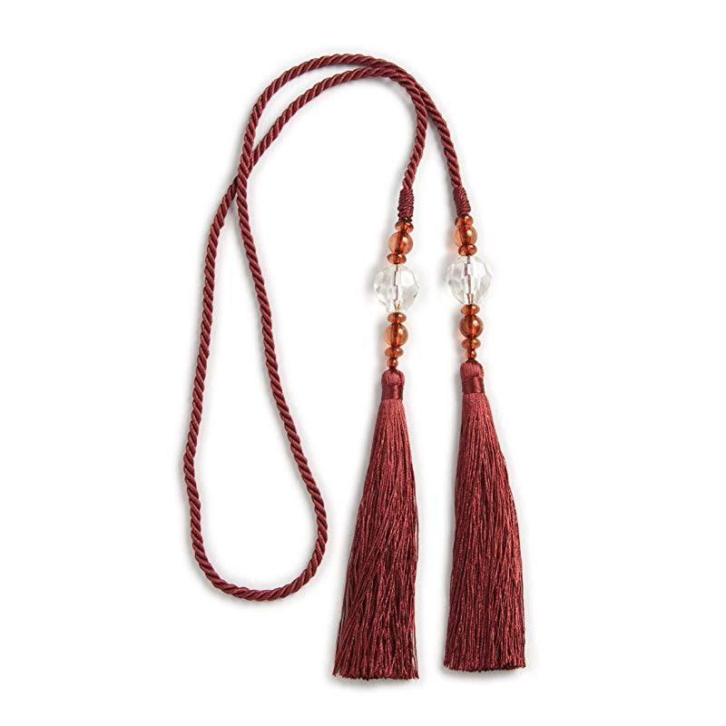 Kenney Small Bead Rope Window Curtain Tieback, Burgundy
