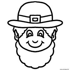 Coloriage This Black And White Cartoon Leprechaun Face Clipart