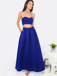 royal blue tube crop top with a line long skirt shein sheinside