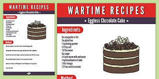 wartime eggless chocolate cake recipe twinkl