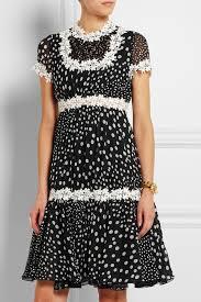 giambattista valli lace trimmed polka dot silk georgette dress in