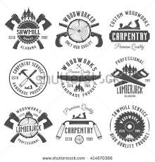 Set Of Carpentry Woodworkers Lumberjack Sawmill Service Monochrome Vector Labels Emblems And
