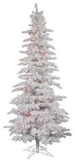 12 Pre Lit Flocked Spruce Slim Artificial Christmas Tree Multi LED