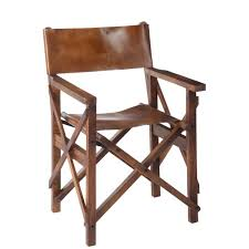 chaise de pliante chaise pliante style régisseur en bois et cuir forest