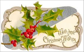 Die Cut Christmas Greeting Card Circa 1900 With Silver And Holly