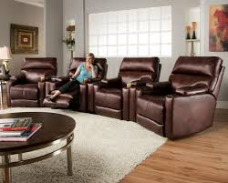 theater seating group with 4 lay flat recliners and cup holders by