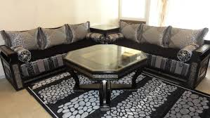 tissu canapé marocain impressionnant tissu pour salon marocain avec table marocaine bois