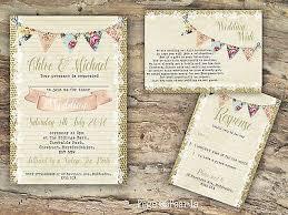 Personalised rustic burlap & bunting & lace wedding invitations