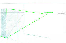 Lets Put A Floating Box In Front Of The Mirror I Will Draw Its Vanishing Lines With One Point Visible Drawing