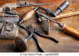 stock photos of vintage woodworking tools on wooden background