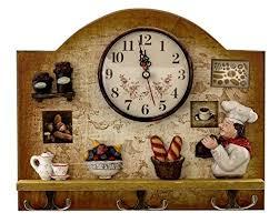 Heartful Home Fat Italian Chef Kitchen Decor Clock With Hooks