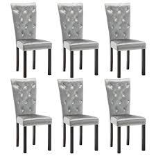 vidaxl esszimmerstühle 6 stk samt silbern