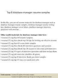 Top 8 Database Manager Resume Samples In This File You Can Ref Materials For