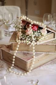 Centerpieces With Books And Pearls