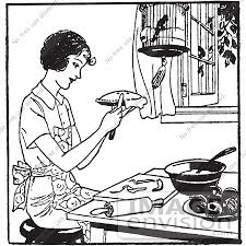 Clipart A Retro Woman Making Apple Pie In Black And White Royalty