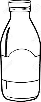 Black And White Cartoon Milk Bottle Stock Vector
