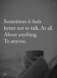 Sometimes Quotes It Feels Better Not To Talk At All About Anything Anyone