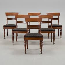 A Set Of Six Chairs, Mid 1800s. - Bukowskis Tilt Top English Breakfast Table 1800s Mahogany Idaho Extending Ding 141800 Folding Bistro Chair Set Teal Ch67 Of 8 Antique Ding Chairs My Primitive Antique Farmhouse It Is Late 5pc Modern Glass Grey Fabric Cushion Chairs Rectangle 9114ey6090tam1tr Early Oak Drop Leaf With One Drawer Of Six Late Georgian Country 3ft Handmade Solid Rustic Wood Reclaimed Pine Identify Queen Anne Style Fniture Irish Ronald Phillips Fine Tables Yewtree