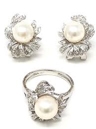 100 Pearl Design Details About 14k White Gold Flower Diamond Earrings Ring Set Size 65