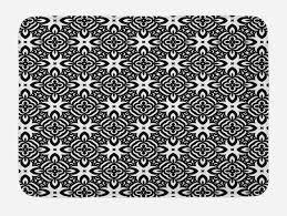 details zu schwarz und weiß badematte vintage blumen