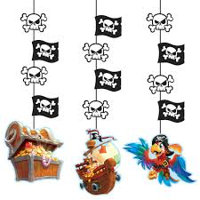 100 Pirate Ship Design 3 Treasure Hanging Cutouts Decorations Parrot Birthday Party