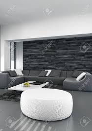 modernes design wohnzimmer innenraum mit schwarzer ledercouch dunkles holz und weiße hocker