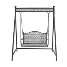 Outdoor Porch Swing With Canopy Patio Garden Wrought Iron Steel 2 Seat Furniture MSFurniture