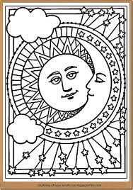 Astronomy Coloring Pages For Adults Printable Midnight Scenery Nature Adult Moon And Sun Detailed