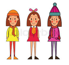 Little Winter Kids Schoolgirls Isolated On White Vector Cartoon IllustrationCute Girl In Of Clothes For Different Seasons Springwintersummer