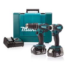 Makita Uk Production Tools by Makita Dlx2012mx 18v Combi Drill U0026 Impact Driver 2 X 4ah Li Ion