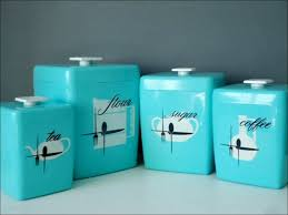 Wayfair Kitchen Canister Sets by Kitchen Blue Green Orange Glass Canisters Set Of 3 Kitchen Sugar