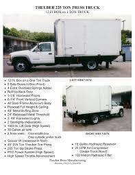 100 One Ton Truck THEUBER 225 TON PRESS TRUCK 12 Ft BOX On 1 TON TRUCK