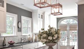 lighting three pendant l granite top chairs windows brown