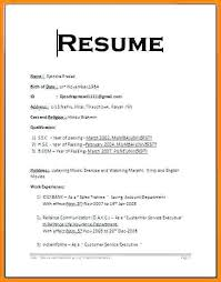 Basic Resume Format Examples Simple And Maker Sample