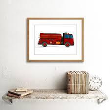 100 Fire Truck Cartoon KIDS FIRE TRUCK CARTOON ILLUSTRATION CHILDREN FRAMED PRINT F12X3411