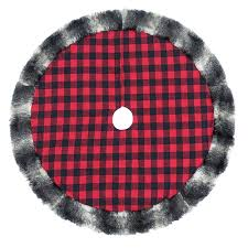 Faux Fur Plaid Christmas Tree Skirt