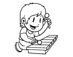 Child Xylophone Coloring Page
