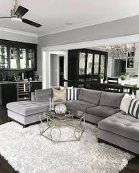 Trendy Living Room Decor With Sectional Grey Couches Black