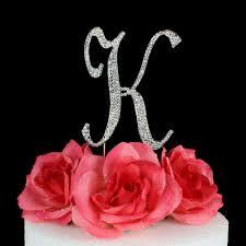 Letter K Cake Topper Monogram 5 Inch Silver Rhinestone