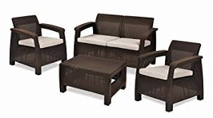 Amazon Prime Patio Chair Cushions by Amazon Com Keter Corfu 4 Piece Set All Weather Outdoor Patio