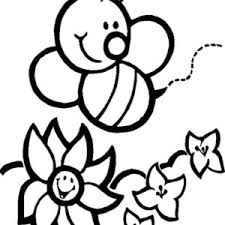 Bumblebee Happy And Flowers Coloring Page