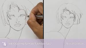 Ink Drawing Female Fashion Face