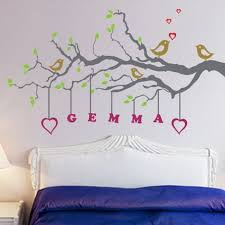 Beautiful Birds And Tree Wall Stickers Decals With Name Quotes In Girls Bedroom Decorating Designs Ideas