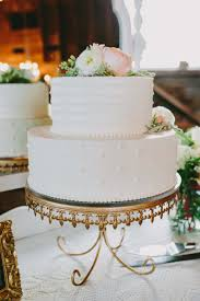 White Wedding Cake Gold Cakestand Flowers Vintage Eclectic