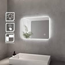 spiegel mit beleuchtung lichtspiegel led badspiegel 70 x 50 cm kaltweiß ip44 badezimmer wandspiegel mit touch schalter energiesparend led