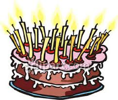 Birthday Cake with Lots of Candles Royalty Free Clipart Picture