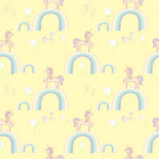 A Gentle Hand Drawn Seamless Pattern With Unicorns Rainbows And Baloons Perfect For Girls Room Wallpaper Or Textile Print Kids