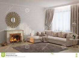 helles und gemütliches wohnzimmer mit kamin und spiegel