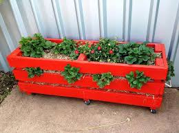 Red Painted Pallet Strawberry Planter Box