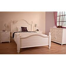 WHITE WOOD BED FRAME CHUNKY STURDY BEDSTEAD DOUBLE OR KING